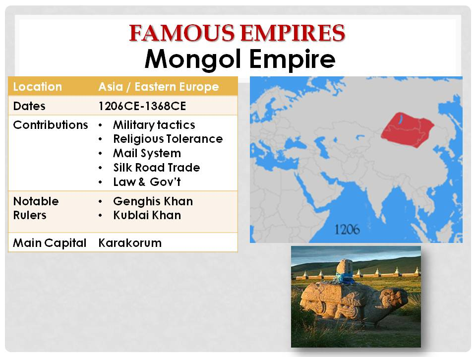 mongol empire 2 essay Even though the mongol empire and the mali empire were on to separate continents they had key idea in the rise of their empire that resembled each other the mali and the mongol empire both raised their empires on the sense of religious tolerance and they both accomplished cultural growth through trade.