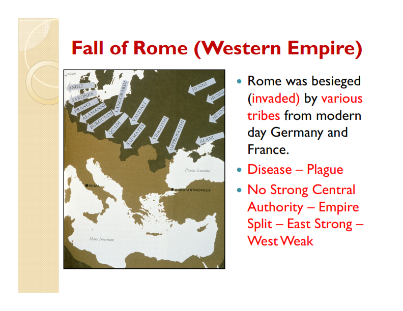 the fall of west rome To many historians, the fall of the western roman empire in the 5th century ce has always been viewed as the end of the ancient world and the onset since much of the west had already fallen by the middle of the 5th century ce, when a writer speaks of the fall of the empire, he or she generally.